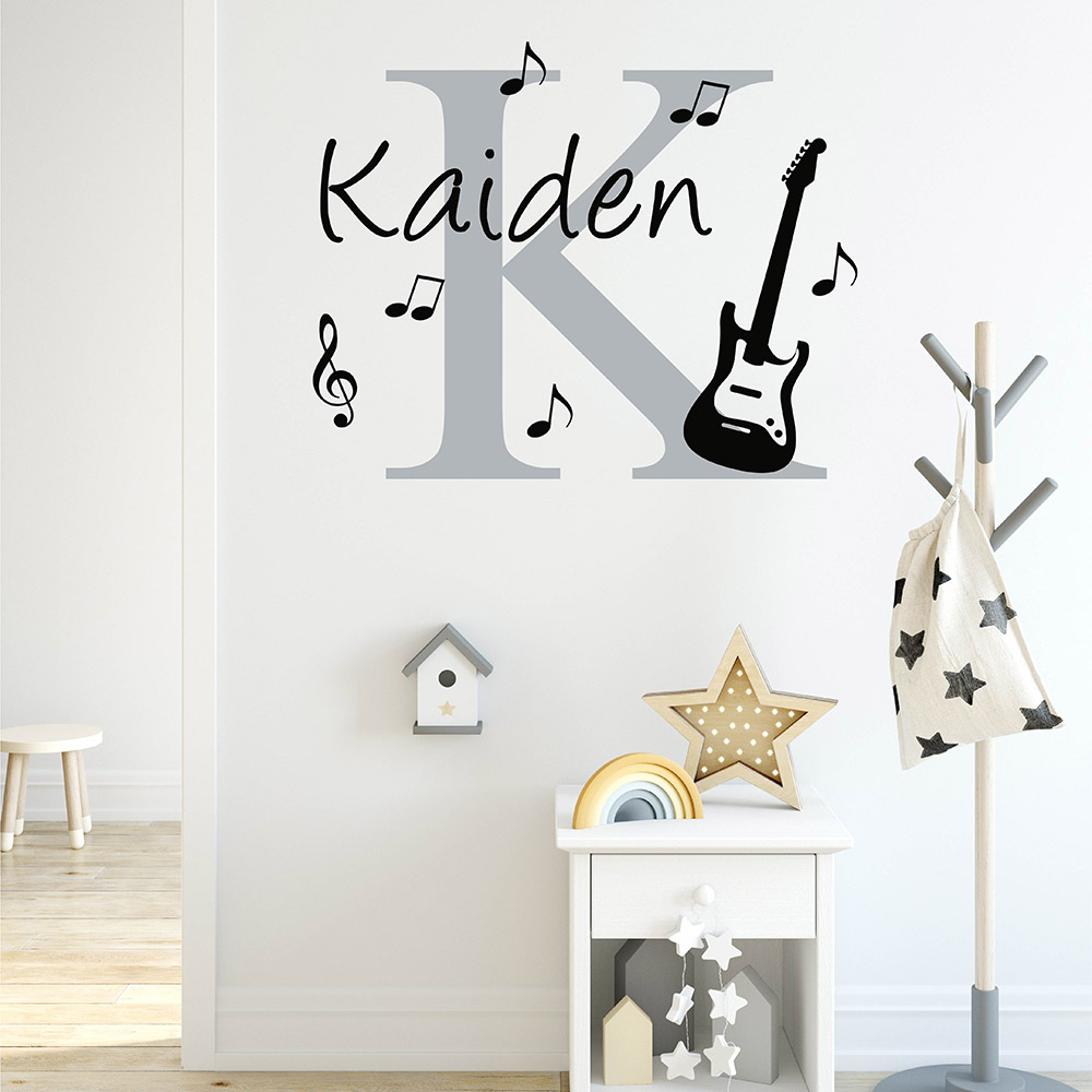 Initial & Name Wall Decal with Guitar and Music Notes Wall Sticker Personalized Name Musical Theme Wall Decor 840C