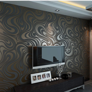 Image 5 - Moderne Abstrakte Luxus 3D Wallpaper Rolle Wand Beflockung Kurve Gestreiften Non Woven TV Sofa Hintergrund Wand Papier für Wände Lila