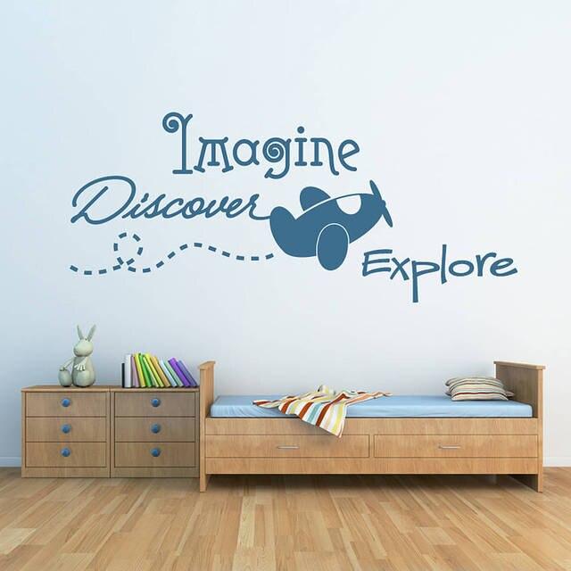 Voorstellen, ontdekken, verkennen... Muursticker Kids Slaapkamer ...