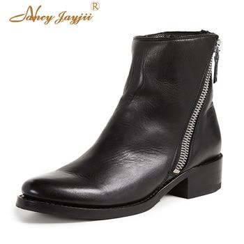 Half Zip Ankle Boots Black Woman Shoes Ladies Female Block Heels Chunky Velvet Winter 2018 Autumn Classic Plus Size 45 43 44 41