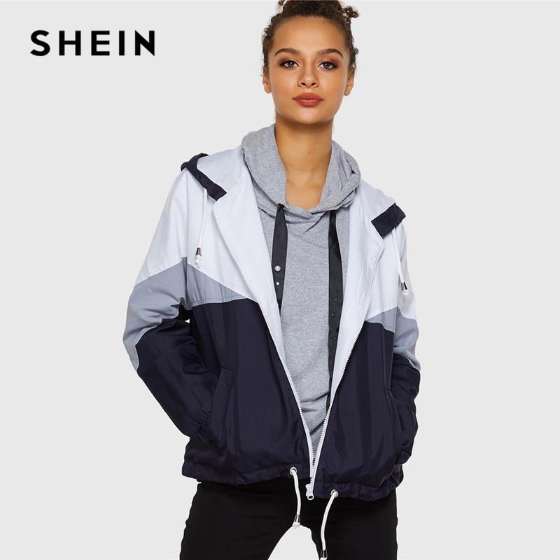 SHEIN Multicolor Casual Elegant Walking Cut And Sew Hooded Pocket Both Sides Drawstring Windbreaker Jacket Autumn Women Jackets