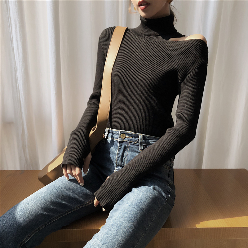 Colorfaith Women Pullovers Sweater 19 Knitting Autumn Winter Turtleneck Sexy Hollow Out Off Shoulder Casual Ladies Tops SW755 12