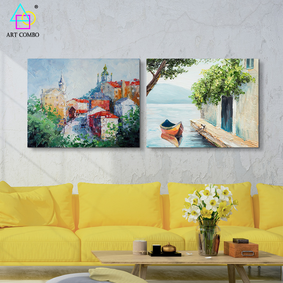 Oil Painting on Canvas Beautiful Landscape Different Place Scenery ...