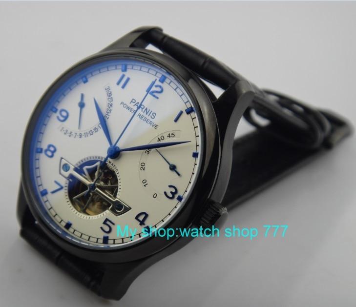 43 мм Парнис Азии ST25 Самовзводные механическое движение Мужские часы PVD Дело запас хода механические часы rnma2
