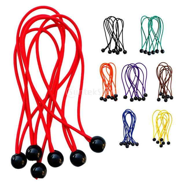 Pack of 6pcs 3mm 15cm Heavy Duty Ball Bungee Cords Tarp Canopy Flag Pole Tie down Ropes Elastic Straps