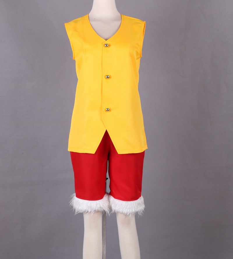 Free shipping Anime ONE PIECE Cosplay Monkey D Luffy Man Woman yellow set Cosplay Costume vest+pants