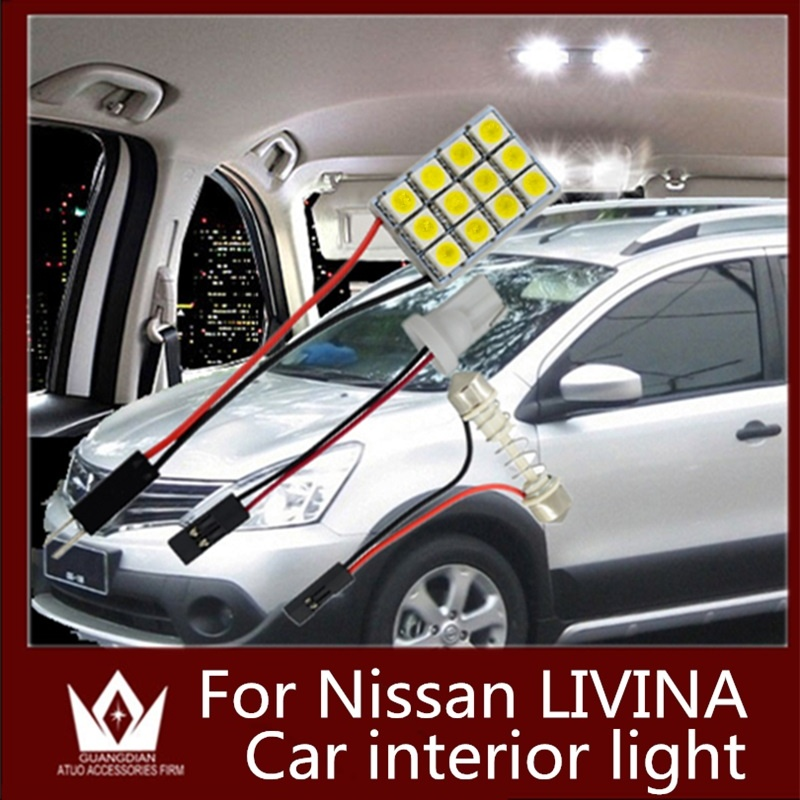 Tcart 6pcs car led light interior light Kit dome light vanity bulb trunk cargo Lamps T10 For Nissan Livina accessories 2006-2013
