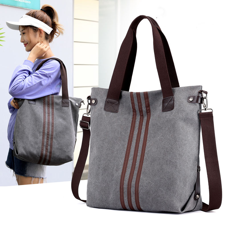 12e4ca14aa4d Vintage Canvas Ladies HandBags Women Messenger Bags Totes Striped Designer  Shoulder Bag Boston Hand Bags Hot Sale