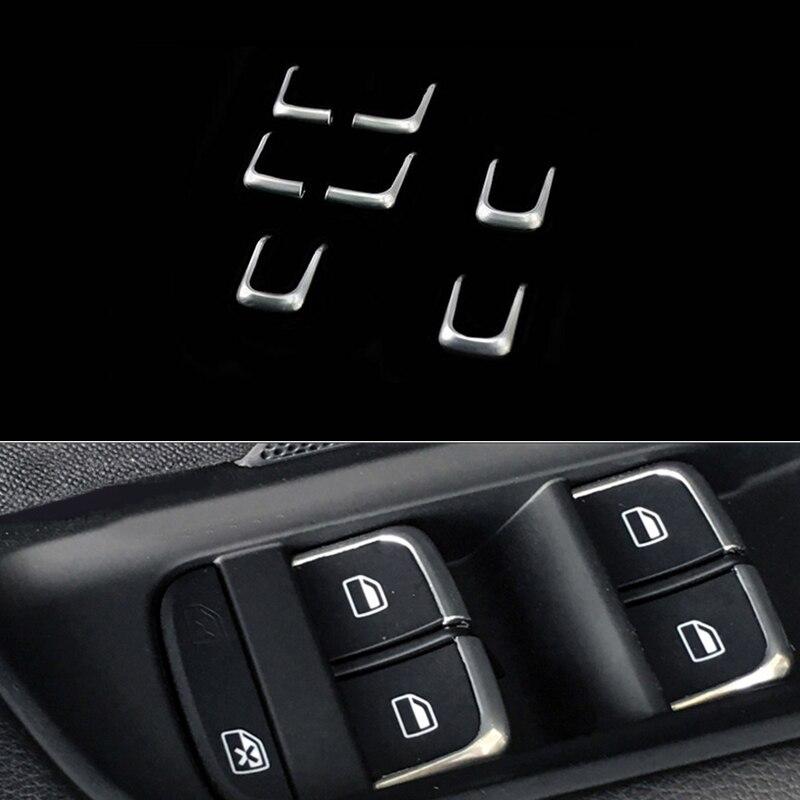 7PCS ABS Chrome Window lift button switch Trim sequin For Audi Q5 2012-2017