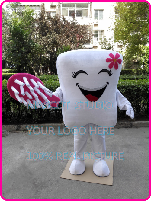 Tooth Toothbrush Mascot Advertising Dental Care Costume Adults Dress Cosplay TOP