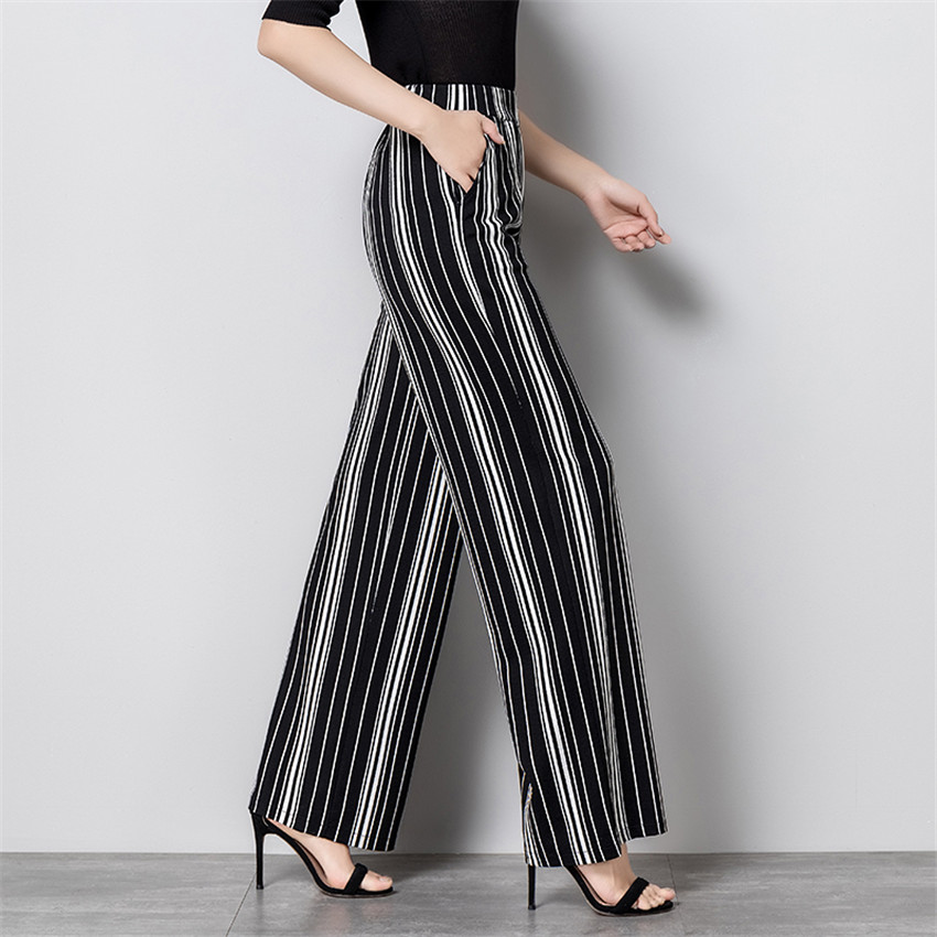 New Fashion Big Size Women Chiffon   Wide     Leg     Pant   Casual Long Striped   Pant   Summer Female Eastic Waist Thin   Pants   Trousers WZ885