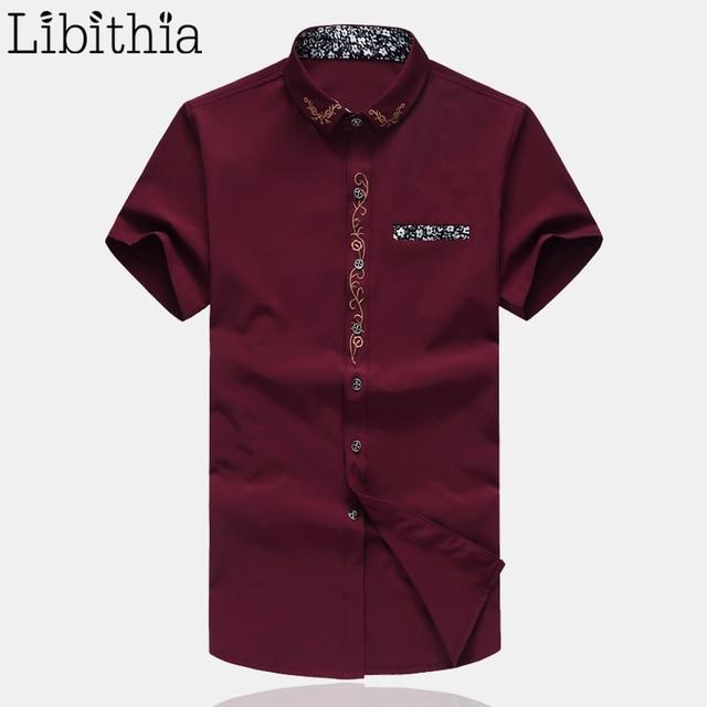 Вышитые мужчин Хлопковое платье рубашка с коротким рукавом социальный Повседневная рубашка Slim Fit рубашки плюс размер M-7XL модные летние блузки S079