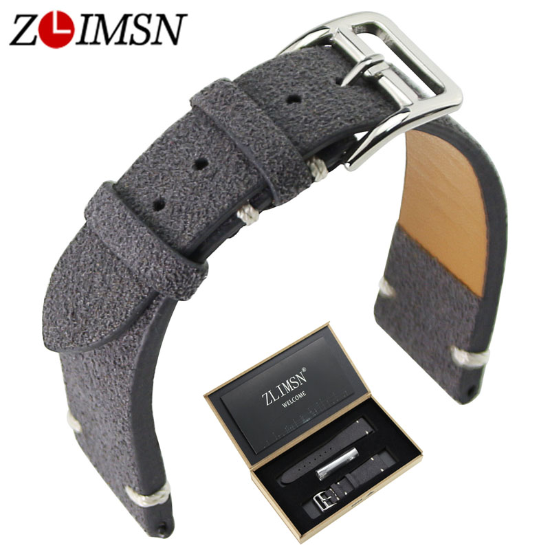 ZLIMSN Men women Bracelet Belt Genuine Leather Watch Band 20mm Suitable for Longines Watch Accessories Watchband Wristband longines часы купить в москве