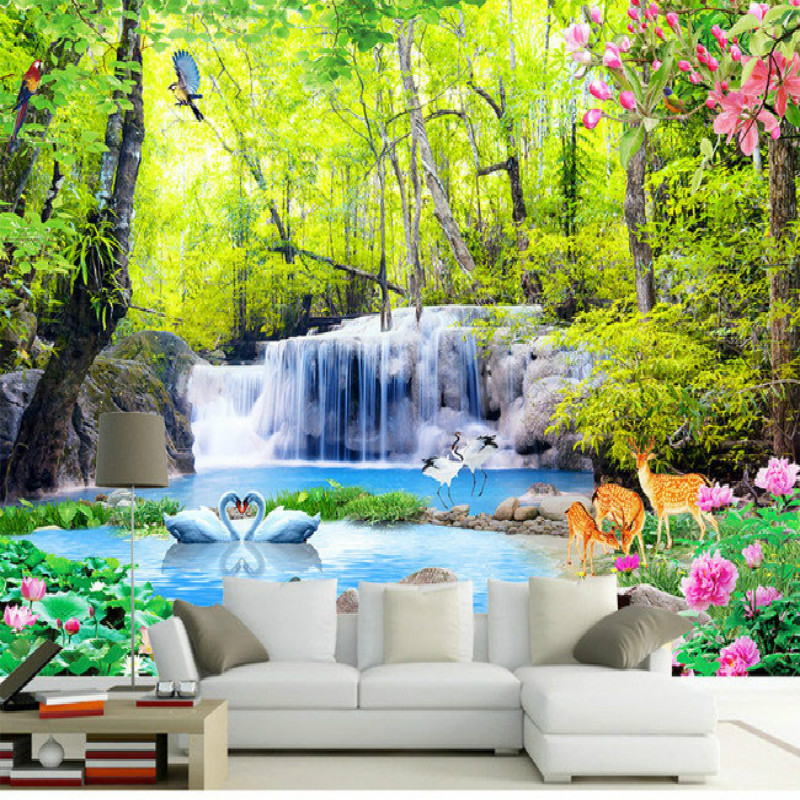Forest Waterfall Water Landscape 3D Large Mural Wallpaper Living Room TV Backdrop Painting Three Dimensional