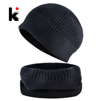 Knitted Hat Set For Men Winter Beanies Scarf Knitting Warm Skullies Cap Men Women Thick Bonnet Scarves Sets Solid Knit Beanie 1