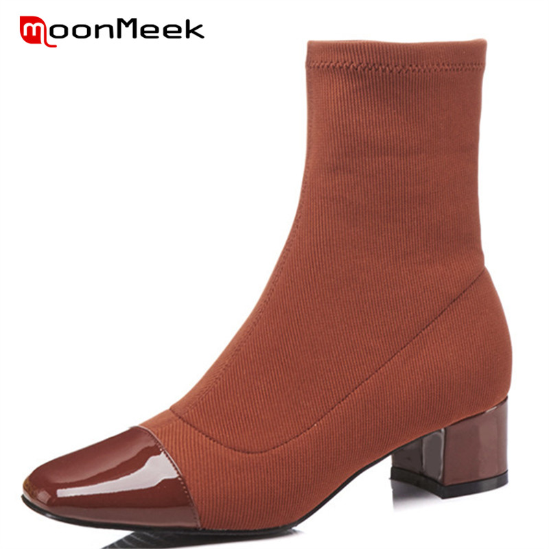 MoonMeek 2018 new arrive genuine leather boots popular pointed toe woman ankle boots autumn winter ladies boots med heels shoes цена 2017