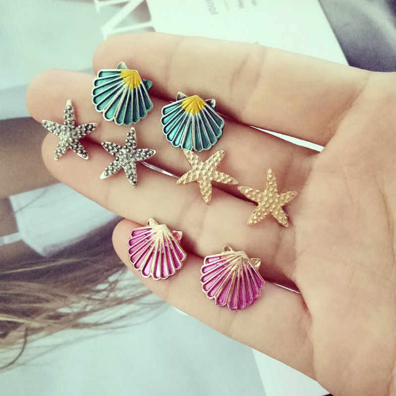 2018 new fashion temperament earrings 4 pairs of earrings set starfish shell color alloy earrings wedding party