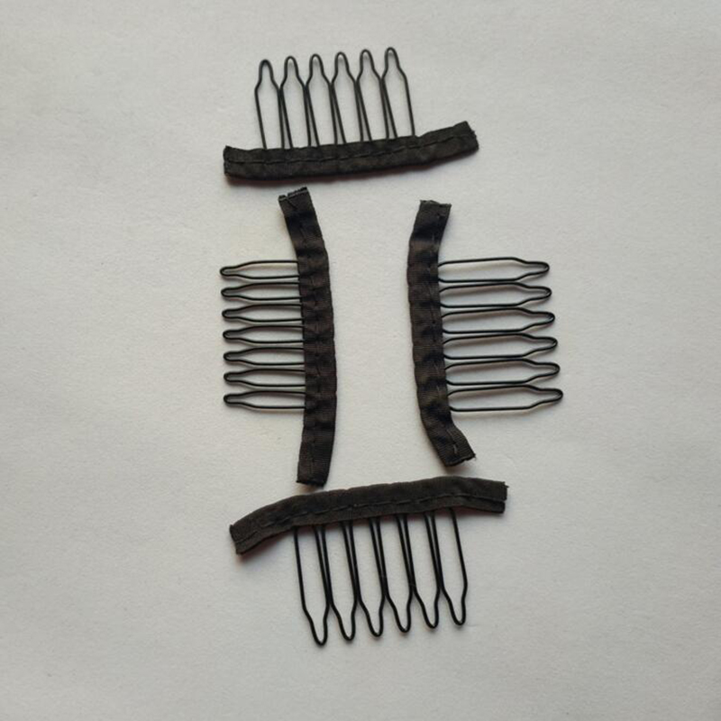 black cloth wig combs 6 teeth hair wig clips for full lace wig cap wig accessories 20-40 pcs/Lot