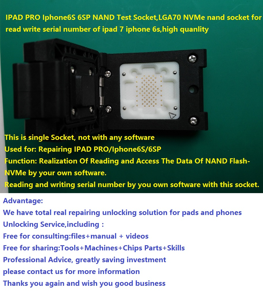 US $149 0 |for iPad PRO 9 7 12 9 Iphone 6SP 6S iphone 7 7P PCIE NAND Test  Socket, LGA70 NVMe socket read write serial number,high quanlity-in