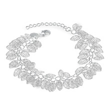 Factory price top quality Silver Plated&Stamped 925 many small cute leafage charms  link Bracelet Women wedding  jewerly