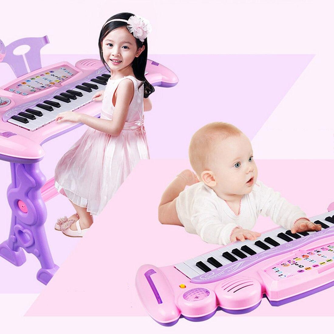 Jouet Musical rechargeable pour enfants orgue électronique 37 touches avec Microphone et tabouret pour filles jouets éducatifs pour enfants - 2