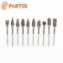 Partol 10pcs/set Assorted 3mm Head Tungsten Carbide Rotary Point Burr Die Grinder Bit 6mm Shank Milling Cutter Abrasive Tools