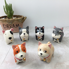 6pcs/set Cute Dog Figurines Ceramic Crafts Decorative Porcelain Miniatures Desktop Ornaments Home Decor Christmas Gift