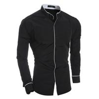 Men Shirt Luxury Brand 2017 Male Long Sleeve Shirts Casual Mens Edge Collar Slim Fit Dress