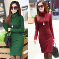 2016 New Winter Dresses Vestidos Long Sleeve Turtleneck Thickening Warm Winter Casual Slim Dress