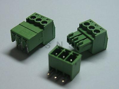 250 pcs Screw Terminal Block Connector 3.81mm Angle 3 pin Green Pluggable Type 150 pcs screw terminal block connector 3 5mm angle 7 pin green pluggable type