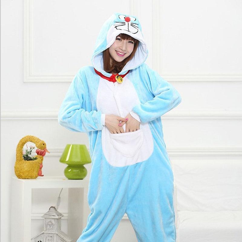Unisex Adults Flannel Hooded Pajamas Cosplay Cartoon Animal Doraemon Onesies Sleepwear For Women Men