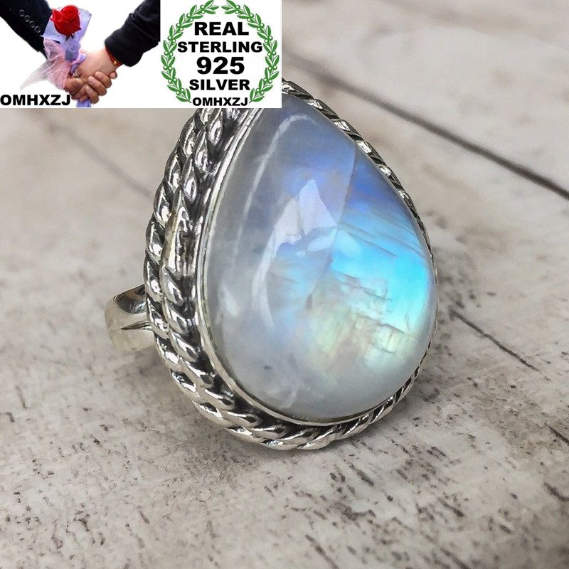 OMHXZJ Wholesale European Fashion Woman Girl Party Wedding Gift Silver White Water Drop Moonstone 925 Sterling Silver Ring RR18