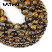 WLYeeS Faceted Tigers eye Stone beads Natural 6 8 10 12 mm Ore Round Loose bead ball for Jewelry bracelets Making DIY 15