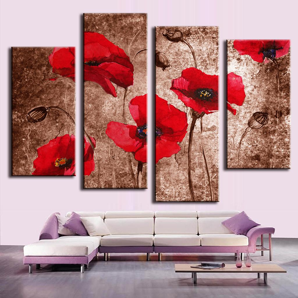 4 Pcs/Set Modern Flower Wall Picture Abstract Red Flower Poppies on Brown Painting Print on Canvas Wall Art for Home decor