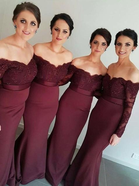 2e96a5580 Recién Llegado de Vino Tinto Sirena Larga Vestidos de dama de Honor Sin  Tirantes del Hombro
