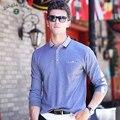 2016 otoño nuevos modelos de explosión de la solapa de la camisa de polo de manga larga de los hombres camisa de polo ocasional de los hombres de mediana edad, el envío libre 8877
