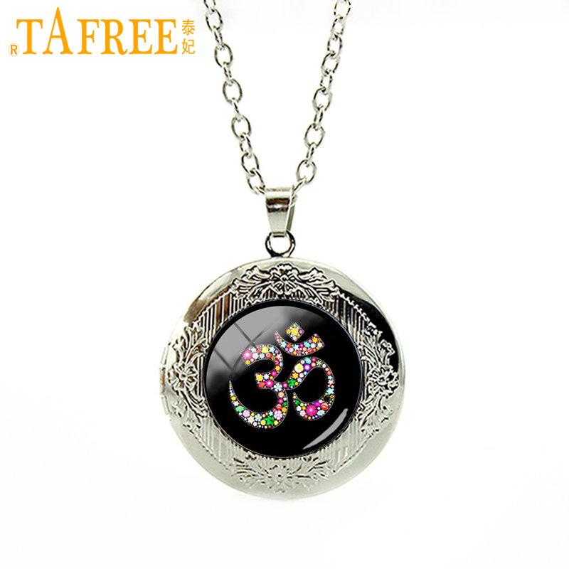 TAFREE Om Ohm Aum Namaste Yoga Symbol YogaNamaste, pendant necklace wedding jewelry plated silver locket necklace T481