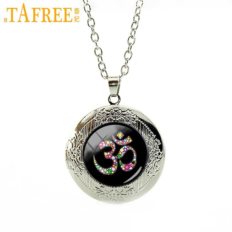 TAFREE Om Ohm Aum Namaste Yoga Symbol YogaNamaste, pendant necklace wedding jewelry plated silver locket necklace T481 ...