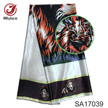 Latest Satin material African wax Nigeria design fabric hot selling digital printed satin silk fabric for party SA17039(China)
