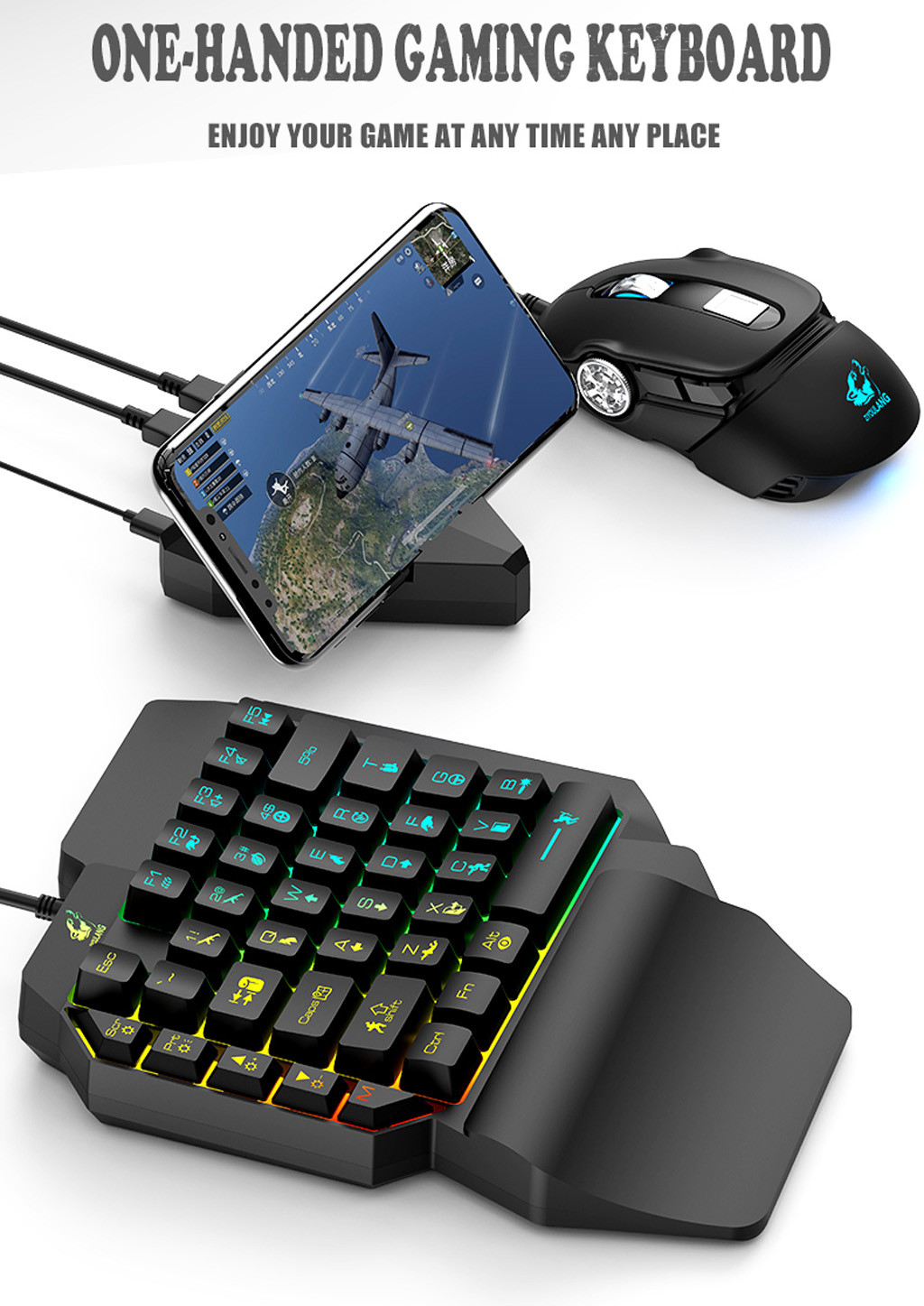 Nova T15 Wired Gaming Teclado com Retroiluminação LED 39 Chaves One-handed Flutuante LED Backlit Teclado de Membrana Teclado Gamer # G4