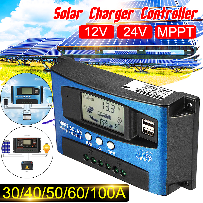 MPPT 30/40/50/60/100A Solar Charge Controller 12V 24V Auto LCD Display Controller With Load Dual Timer Control
