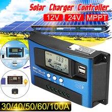 MPPT controlador automático de carga Solar con pantalla LCD, 30/40/50/60/100A, 12V, 24V, Control de temporizador Dual de carga