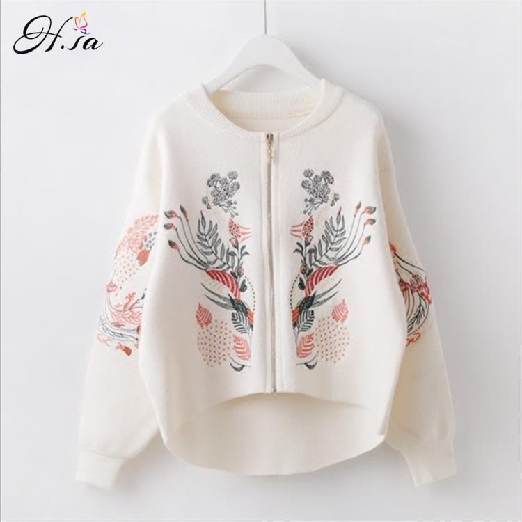 H SA Womenn Spring Autumn Sweater Cardigans Embroidery Zipper Sweater Poncho black White Flower Coat Short