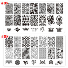 Plastic Nail Art Stamping Plates Geometric Patterns Clear Stamper Nail Stamping Plates Manicure Template Nail Stencil Tools