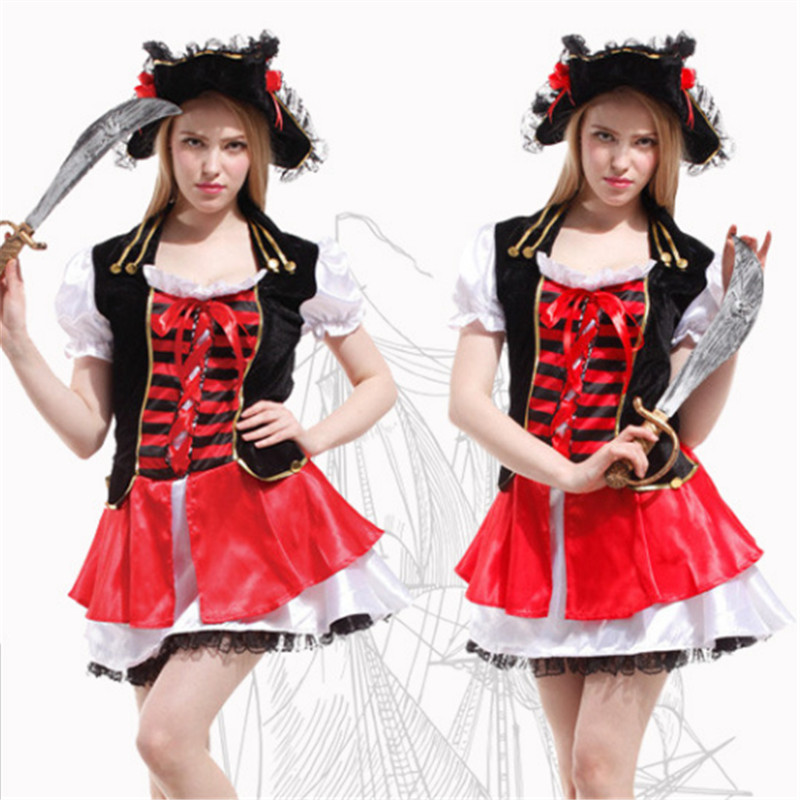2018 New Plus Szie Halloween Pirate Costume High Quality Adult Women Red Sexy Matador Pirate Captain Cosplay Costume With Hat