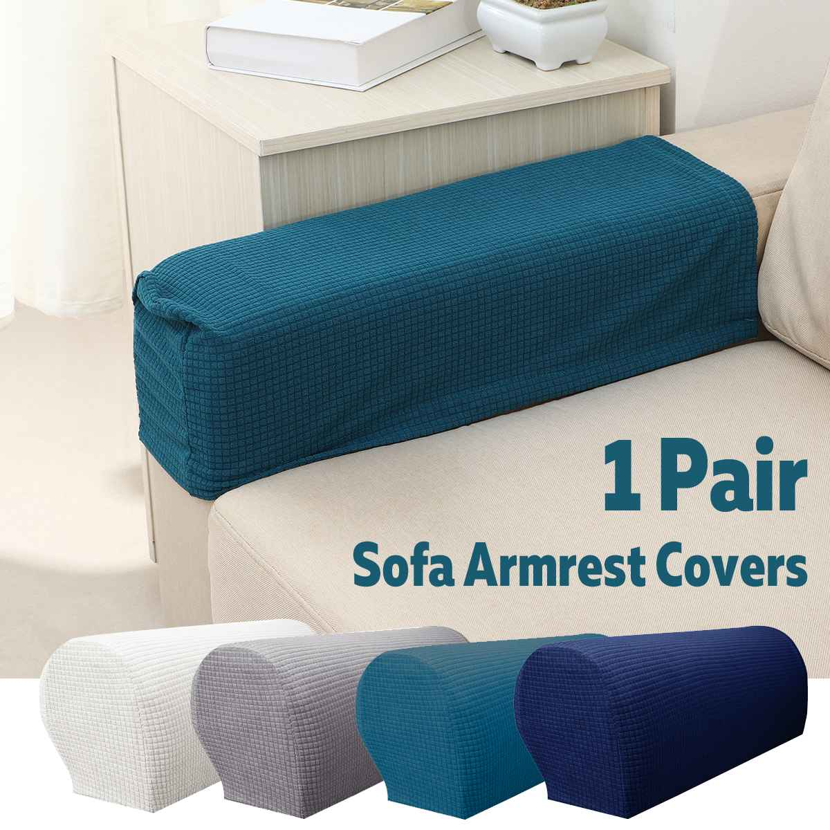 1 Pair Sofa Armrest Covers Waterproof Stretch Fabric Arm Protectors Chair Covers Mat Home Decor For Couches Armchairs Slipcover