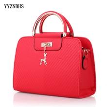 2019 New Fashion Handbag Women PU Leather Tote Bag Deer Decor Large Capacity Shoulder Bags Casual Top-handle Ladies Hand