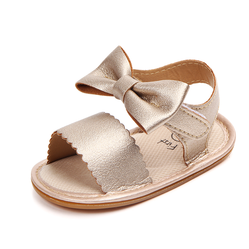 2018 Summer Baby Sandals Purfle Leather Baby Girl Shoes Butterfly-knot Princess Shoes Anti-slip Rubber Sole Sandals Wholesale