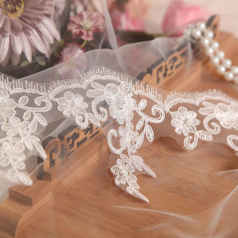 6Yards Ivory Red New Lace Trim Wedding Veil Lace Accessories DIY Craft Materials Skirts Clothing Apparel Fabrics in Lace from Home Garden
