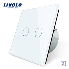 Livolo Luxury  W/B/G 3 Color Crystal Glass Panel Wall Switch, EU Standard Touch Control led Curtains Switch C702W-1/2/3/5